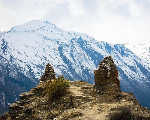 Annapurna Circuit Trek a popular trekking route. Trail offers picturesque view of mountains.