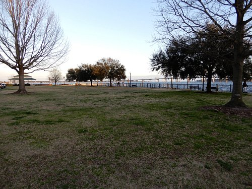 View of the park with the gazebo in the background