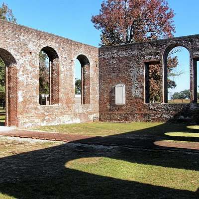 The walls of St. Philips Church still stand at Brunswick Town historic site.