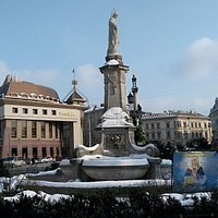 Mickiewicz Square, the monument in the background