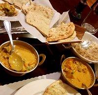Garlic naan, korma and brown rice. Delicious!