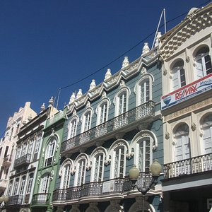 Another view of the row of Art Deco buildings