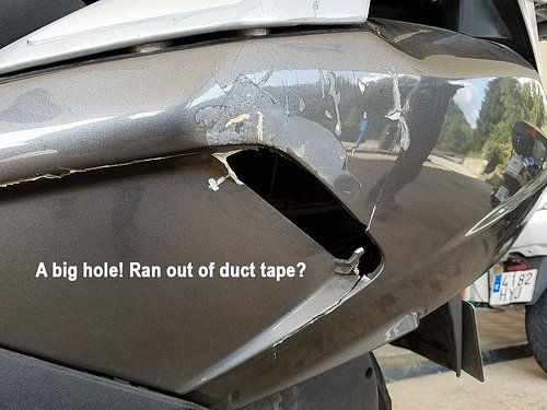 Why no duct tape here? Was this a blinker or a reflector, ie safety equipment?