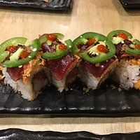 Spicy Tuna with Jalapenos on top - hot, hot, hot!