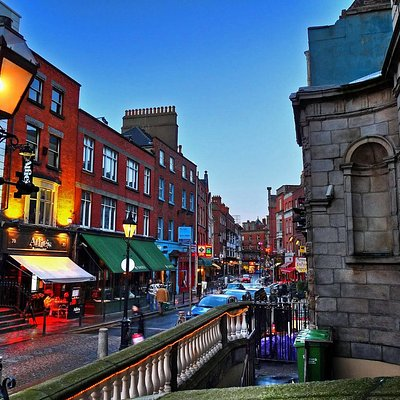 The streets of Dublin at twilight