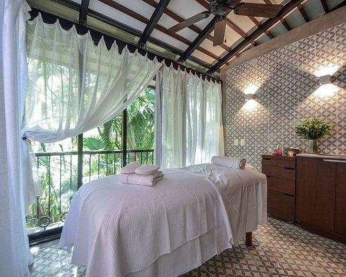 Cabin #2, massage and facials, overlooking gardens.