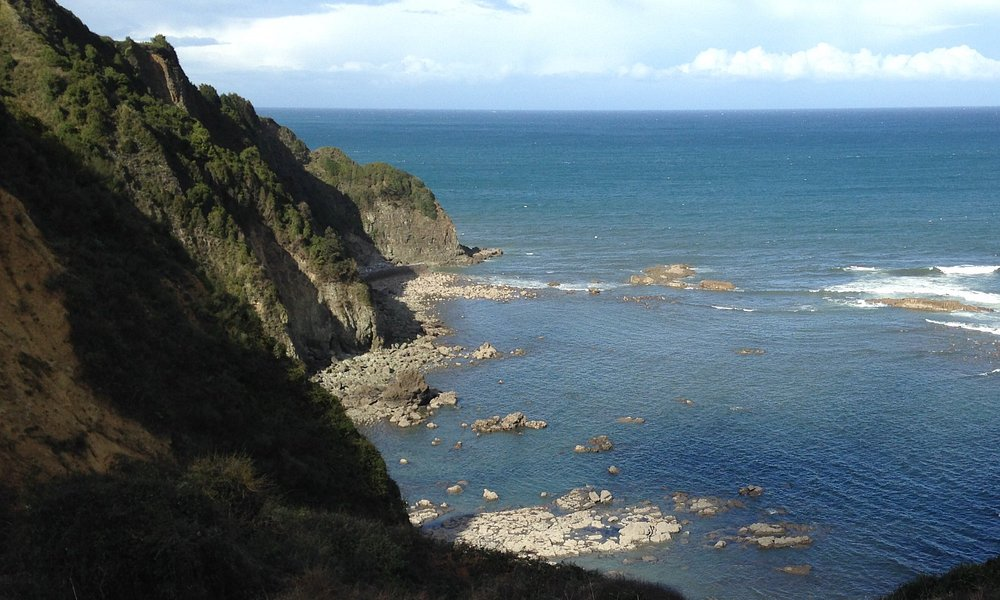 View across cove below cliff path