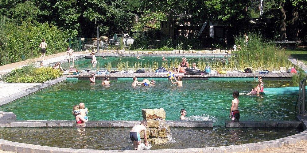 Badespaß im chlorfreien NaturFreiBad bei Sonnenschein