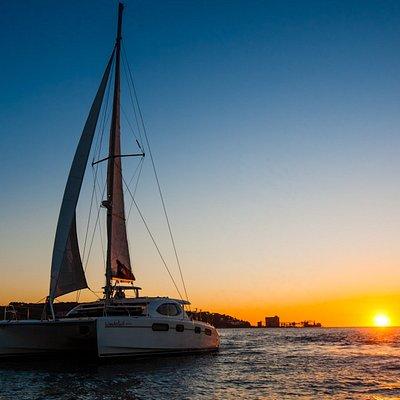O nosso catamaran rumo ao sunset