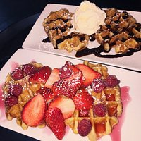 Waffles with fruit or Chocolate sauce and Ice cream