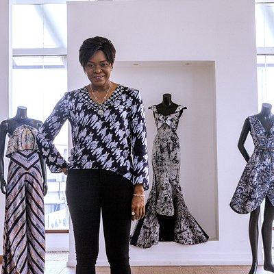 Iconic Fashion Designer Deola Sagoe in her showroom.