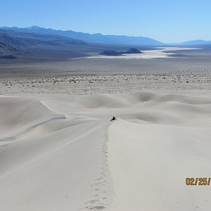 Hike 3.5 miles across open desert to beautiful Panamint Dunes. About 400 ft tall.