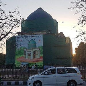 Sabz Burz opposite Humayun's Tomb. Restoration work by ASI under progress.