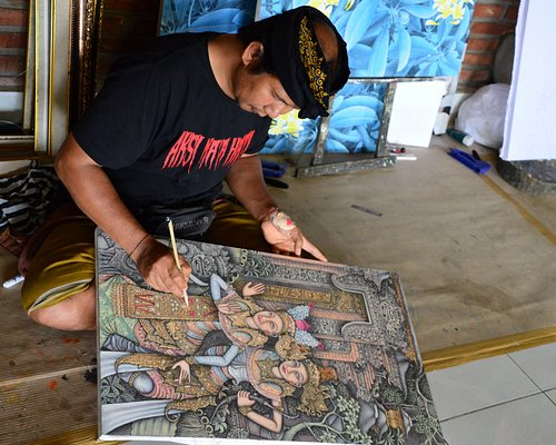 Artist is busy in painting
