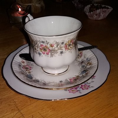 Pretty cups and saucers for afternoon tea