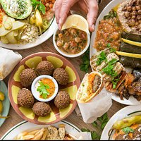 a selection of authentic middle eastern food including falafel ,humous,ful,vine leaves,tzatziki