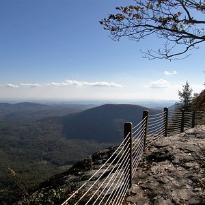 At the summit of Whiteside Mountain, the trail runs close to the edge.
