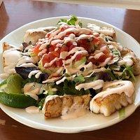 Pan Seared Fish Tacos Salad