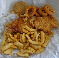 2 Fish 1 Pork Meatball, 6 Squid Rings & Chips $9.70.