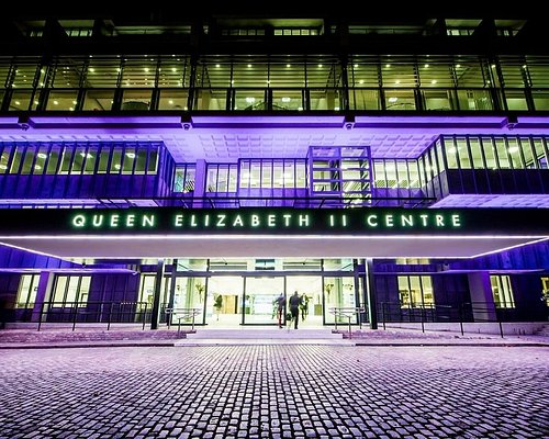 Outside QEII Centre at night