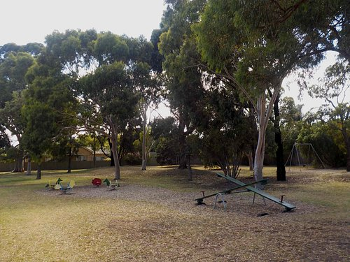 Play equipment and shady trees