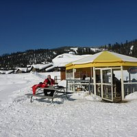The umbrella cafe in the great Sun Peaks outdoors.  Can't ask for more on a bluebird day