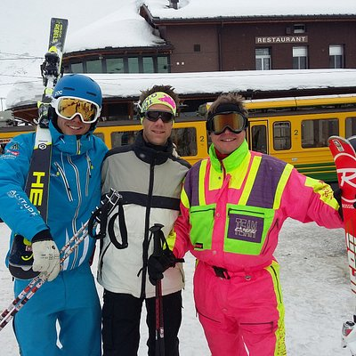 The instructor, my friend and me in the extravagant outfit