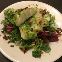 Herb encrusted cod loin on a Himalayan Salad with lemon and caper dressing