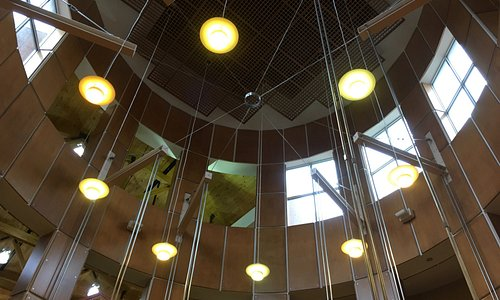 High, beautiful ceiling inside the library
