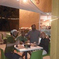 Manuel, Josh & Pauline enjoying Seth & Arturo's cuisine.