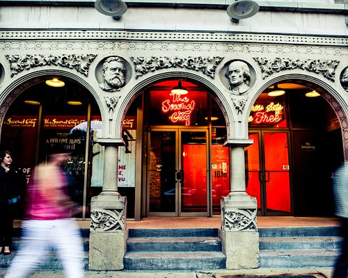 The historical Second City Sketch Comedy Club Entrance located at 1616 N Wells St. in Chicago