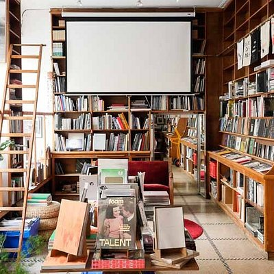 Inside view of the Tipi bookshop
