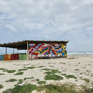 One of the structures built along the beach