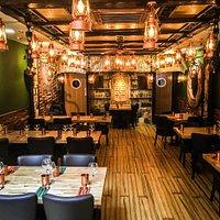 Beautiful interior of Kayals Herb Restaurant.