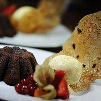 Chocolate Cake with Vanilla Ice Cream