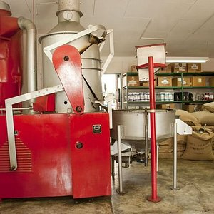 Roasting machine at Café Milagro Coffee Roaster