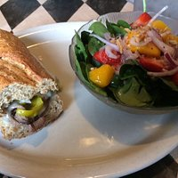 1/2 roast beef sandwich (whole wheat French bread) with spinach salad - strawberry & mango