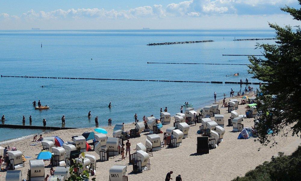 Blick vom Streckelsberg auf den Strand