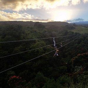 Sunset zipline over paradise!