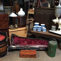 Some of our quirkier stock including a coffee grinder, a radio and a trombone!