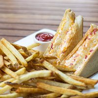 Pimento grilled cheese with hand cut fries.