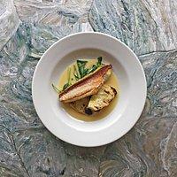 MSC certified gurnard, celeriac, ramson and oyster sauce