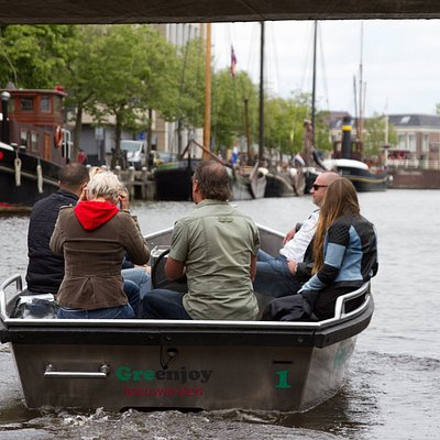 Explore the historic canals of Leeuwarden in an electric boat