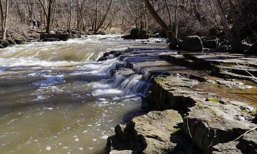 Small waterfalls just east of the playground/bridge. Walk down on the south side but the trail e
