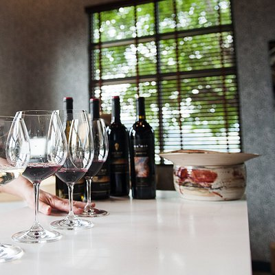Qwam Qwmt Tasting Gallery, sampling our premium wines from Riedel varietal specific glassware