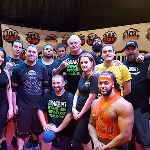 group shot of a class that WWE super star Gangrel showed up too!