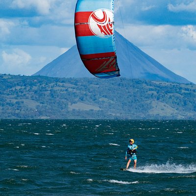 Kiteing in front of Arenal Volcano