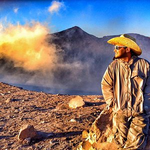Anry Rodriguez at the top of Telica Volcano, Leon, Nicaragua