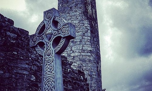 Aughagower Cross and Tower - In grounds of Aughagower Church, near Westport, Co. Mayo