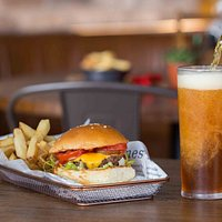 Our signature burger with a beer goes down a treat!